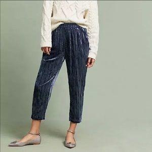 Ett:TWA Anthropologie crushed velvet cropped pants